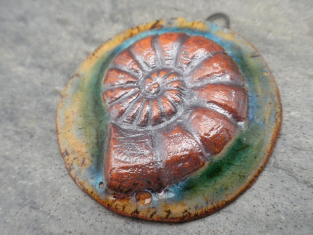 Ammonite ceramic pendant