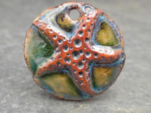 Starfish ceramic pendant